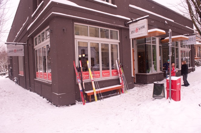 Are we in Davos or Stumptown?  Ski to the mocha.